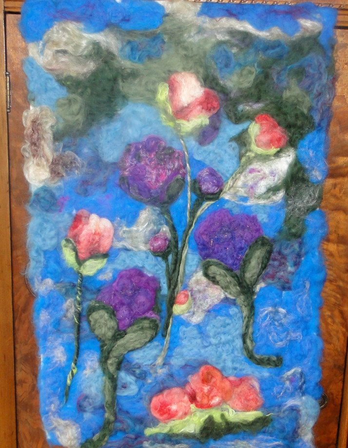 Wool needle felted Tapestry.  Poppies and Peonies