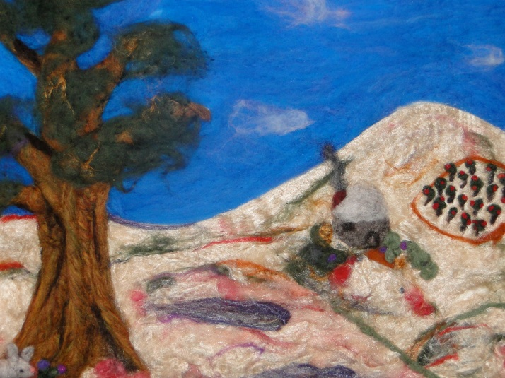Felted Tree with house and apple orchard tapestry