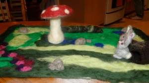 Spring seasonal felted mat.