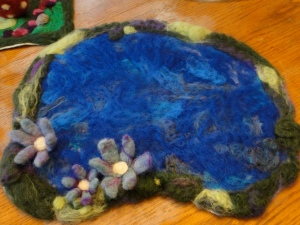 Summer Needle felted pond with lilies.
