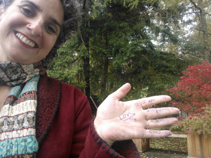Shakti photo with writing on hand